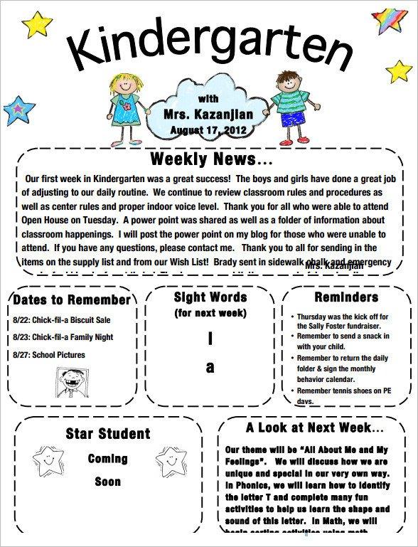 Newsletter Templates for Preschool Sample Kindergarten Newsletter Template 15 Free