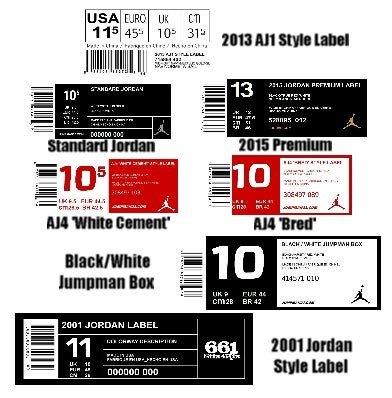 Nike Box Label Template Large Jordan Shoebox Label for Custom Sneaker Storage