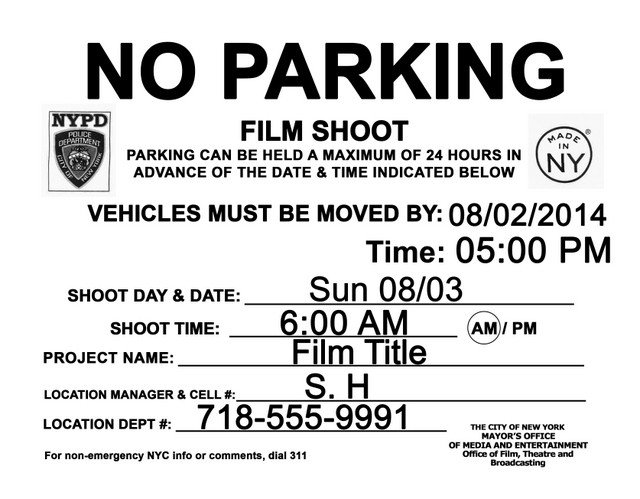 No Parking Signs Template Fake No Parking Shoot Signs In Nyc for Sequels to