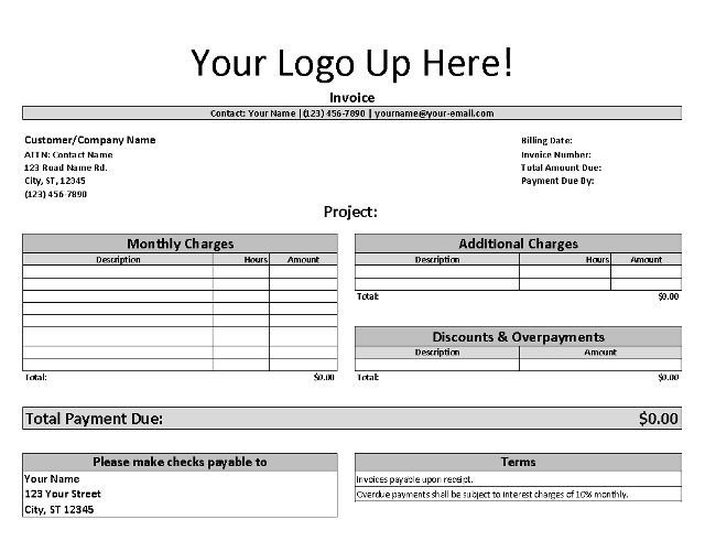 Non Profit Invoice Template Free Invoice Template for Freelancers and Small Business