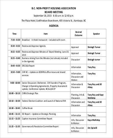 Nonprofit Board Meeting Agenda Template 8 Board Meeting Agenda Samples Examples Templates