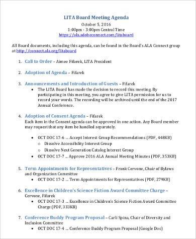 Nonprofit Board Meeting Agenda Template Agenda format Sample 30 Examples In Word Pdf