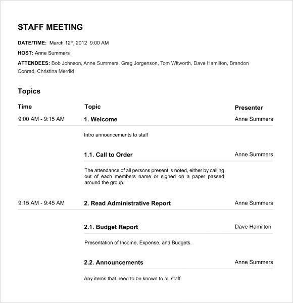 Nonprofit Board Meeting Agenda Template Board Meeting Agenda 11 Free Samples Examples format