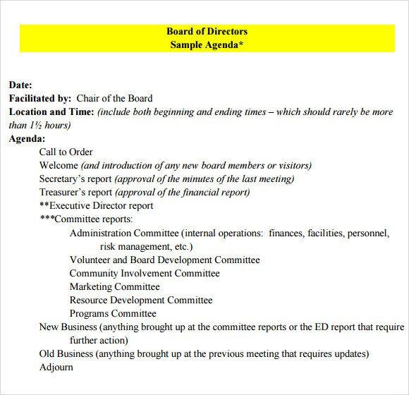 Nonprofit Board Meeting Agenda Template Board Meeting Agenda 9 Free Samples Examples format