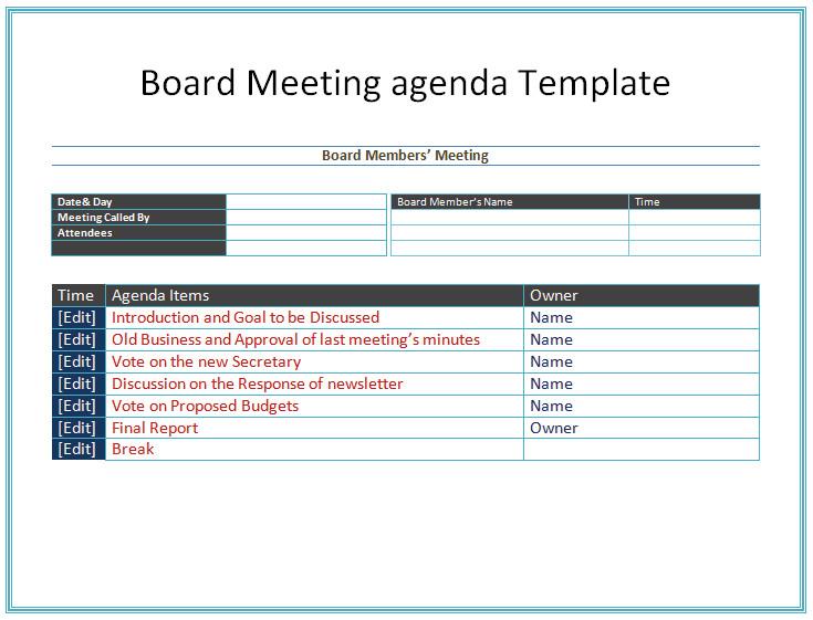 Nonprofit Board Meeting Agenda Template Board Meeting Agenda Template Easy Agendas