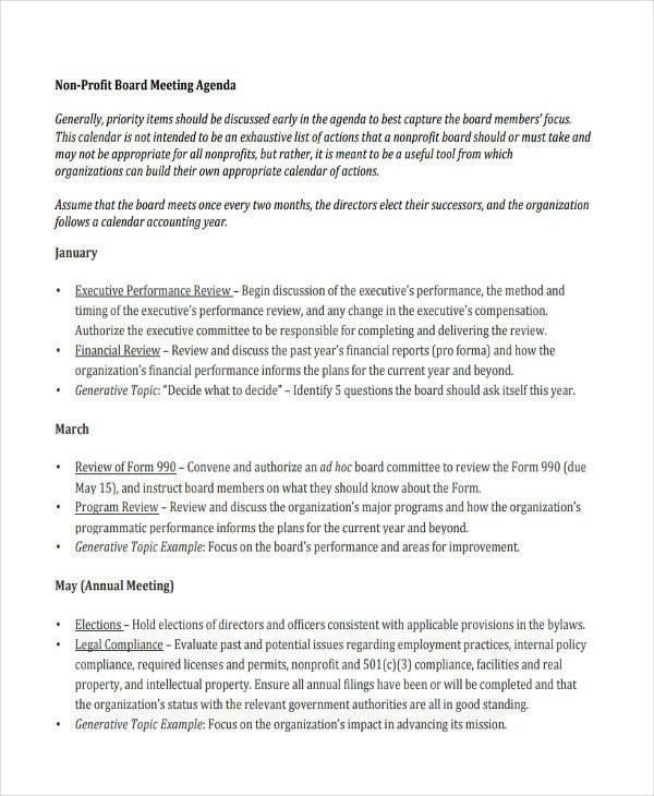 Nonprofit Board Meeting Agenda Template Nonprofit Agenda Templates 6 Free Word Pdf format