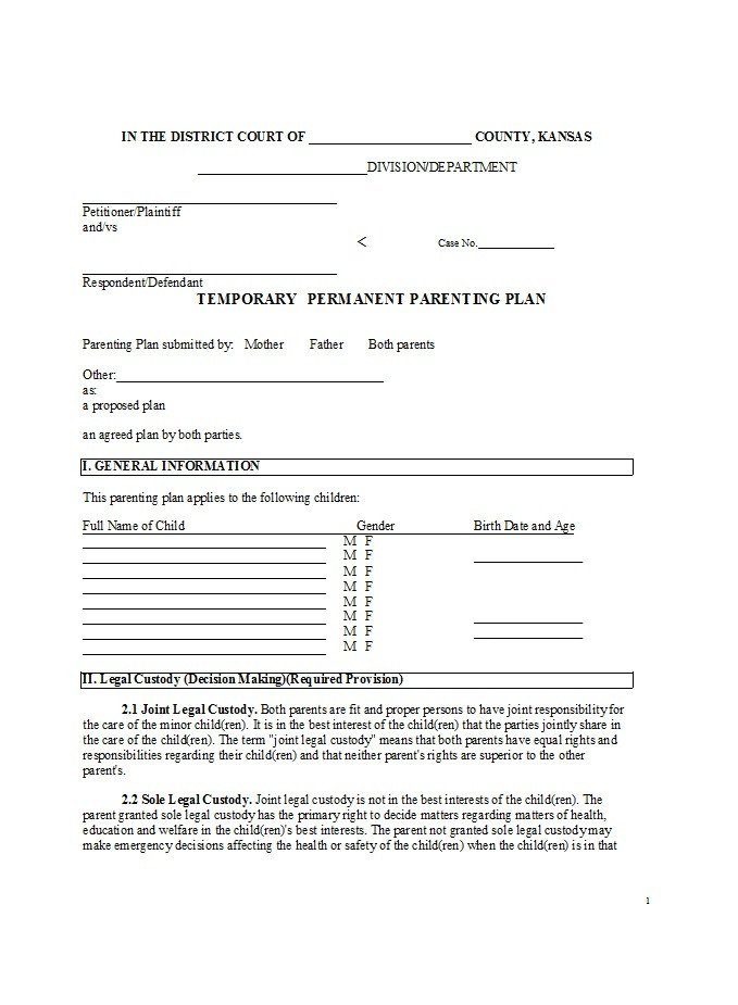 Notarized Custody Agreement Template 49 Free Parenting Plan & Custody Agreement Templates