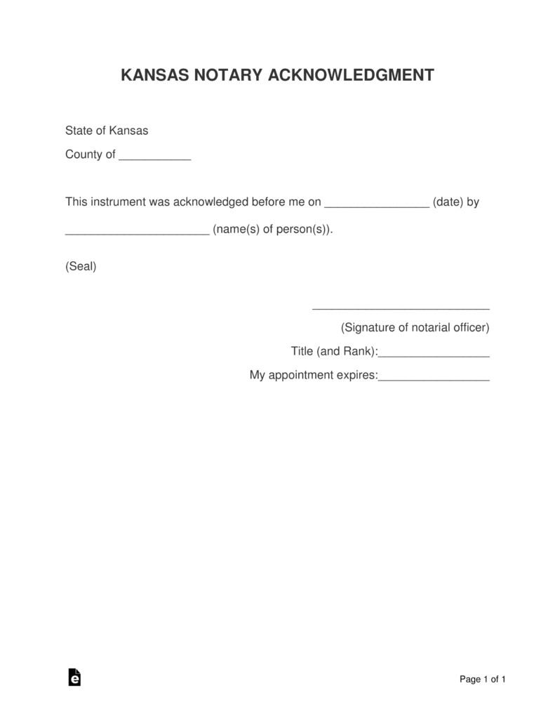 Notary Signature Block Template Free Kansas Notary Acknowledgment form Pdf