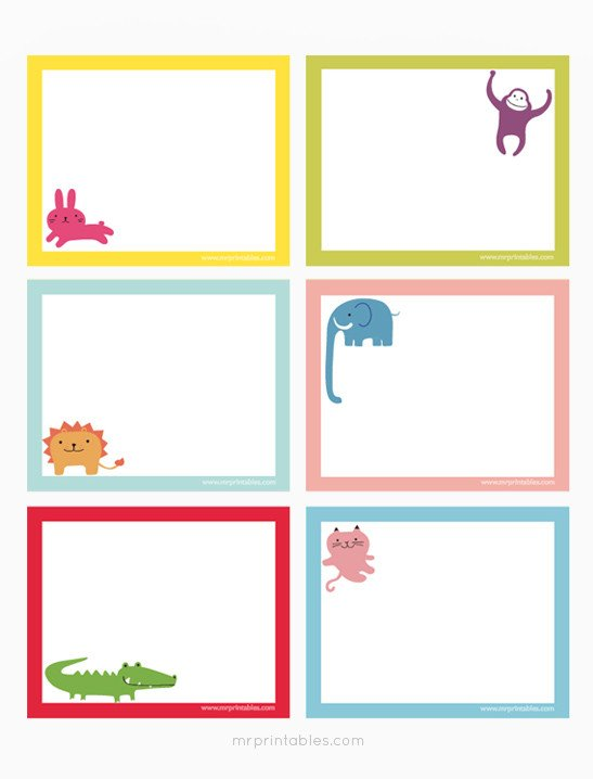 Note Card Template Free Animals Printable Note Cards Mr Printables
