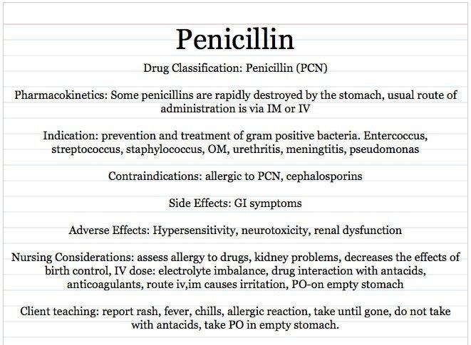 Nursing Drug Card Template Vocational Nursing Resources Penicillin Card Sample