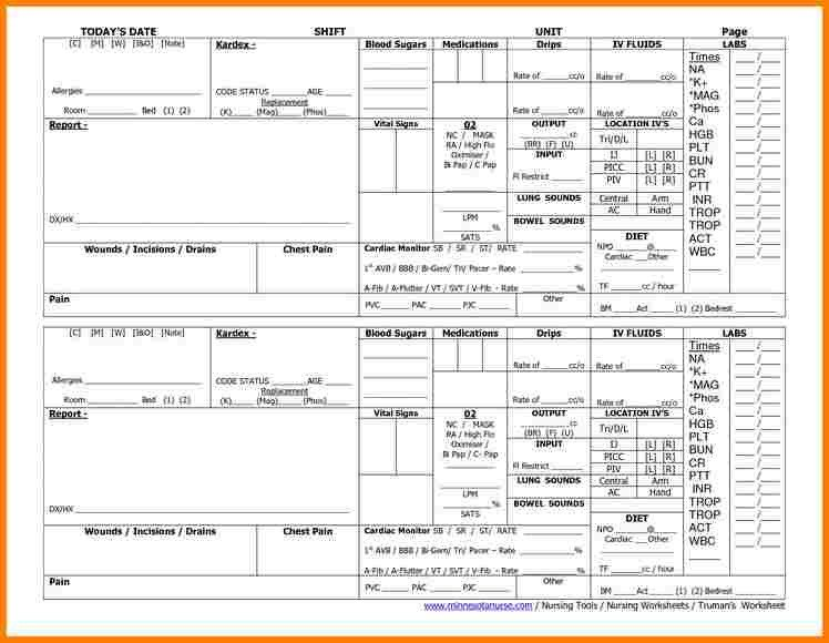 Nursing Report Sheet Template 5 Nursing Report Sheet Templates