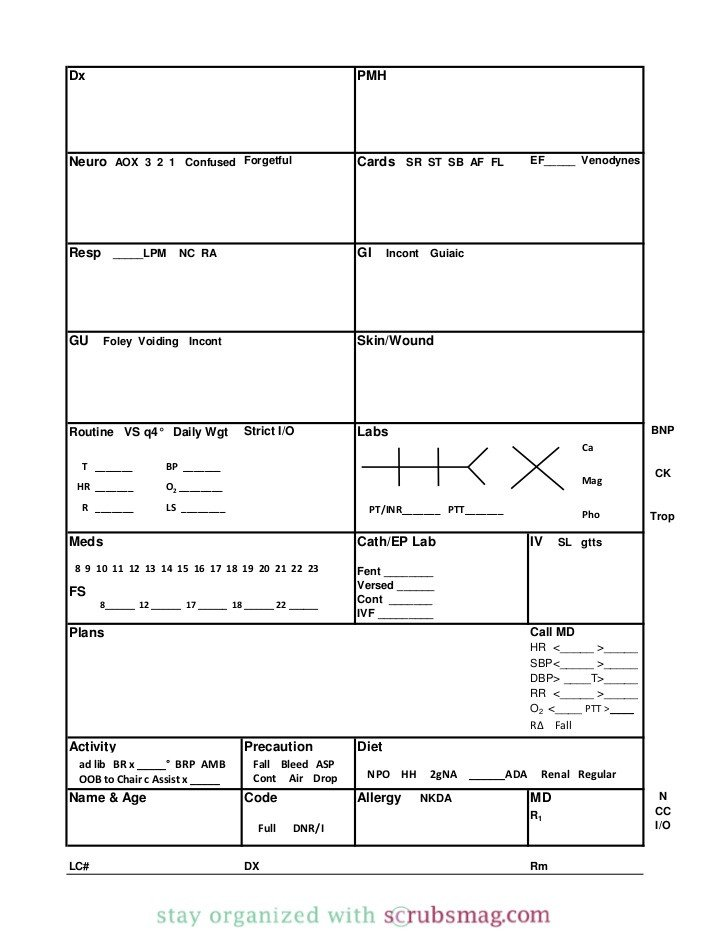 Nursing Report Sheet Template Nurse Brain Sheet Binder Insert with Dividers