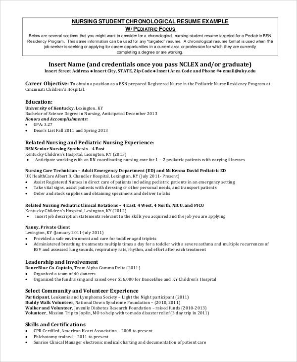 Nursing Student Resumes Examples Sample Nursing Student Resume 8 Examples In Word Pdf
