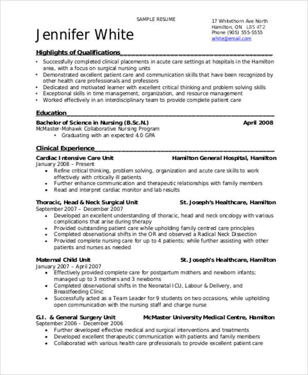 Nursing Student Resumes Examples Sample Student Nurse Resume 8 Examples In Word Pdf