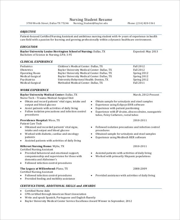 Sample Student Resume 7 Documents in PDF Word