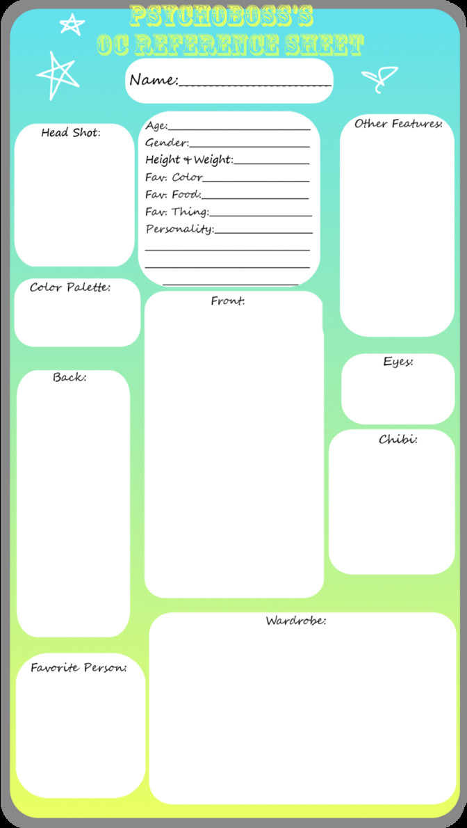 Oc Reference Sheet Template Blank Oc Reference Sheet by Psychoboss On Deviantart