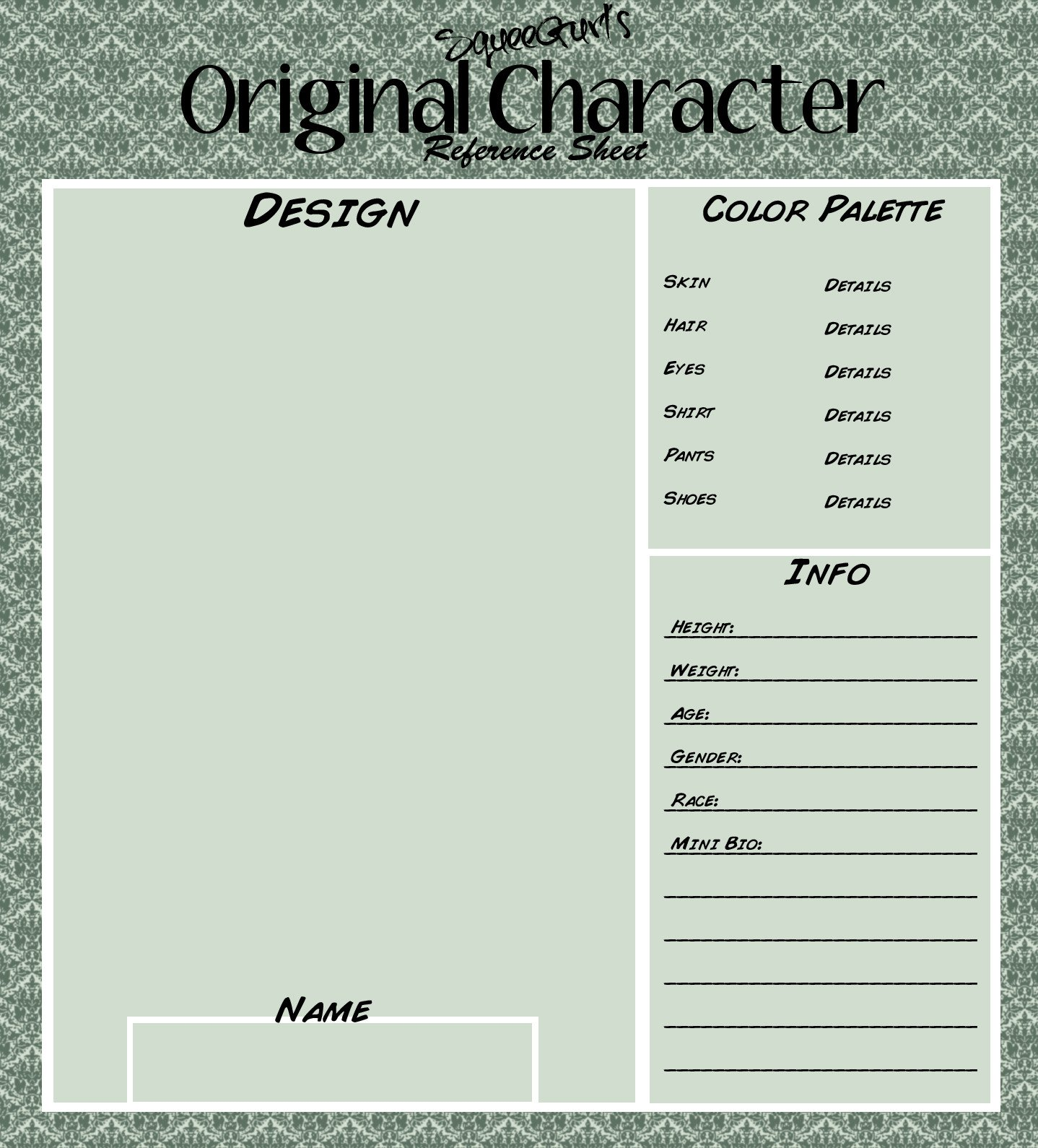Oc Reference Sheet Template Deviantart Character Creation Sheets