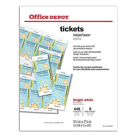 fice Depot Brand InkjetLaser Tickets 5 12 x 2 18 Bright