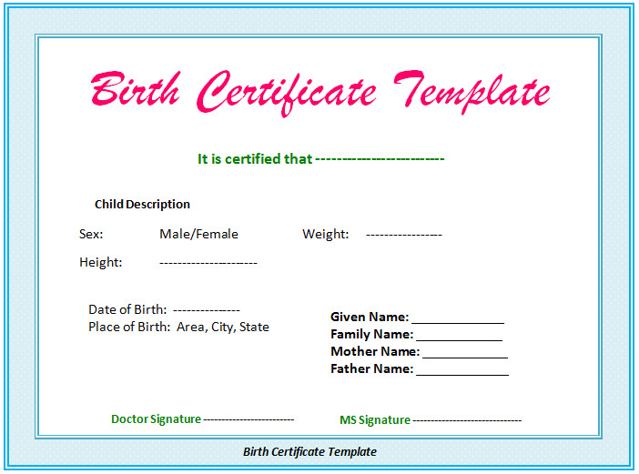 Official Birth Certificate Template 5 Birth Certificate Templates to Print Free Birth Certificates