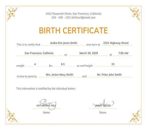 Official Birth Certificate Template 83 Psd Certificate Templates