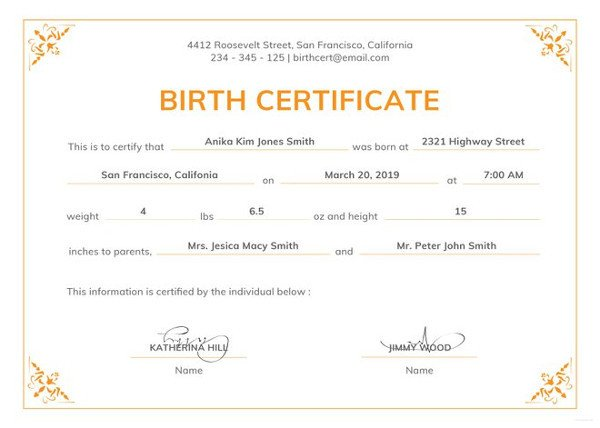 Official Birth Certificate Template Birth Certificate Template 44 Free Word Pdf Psd