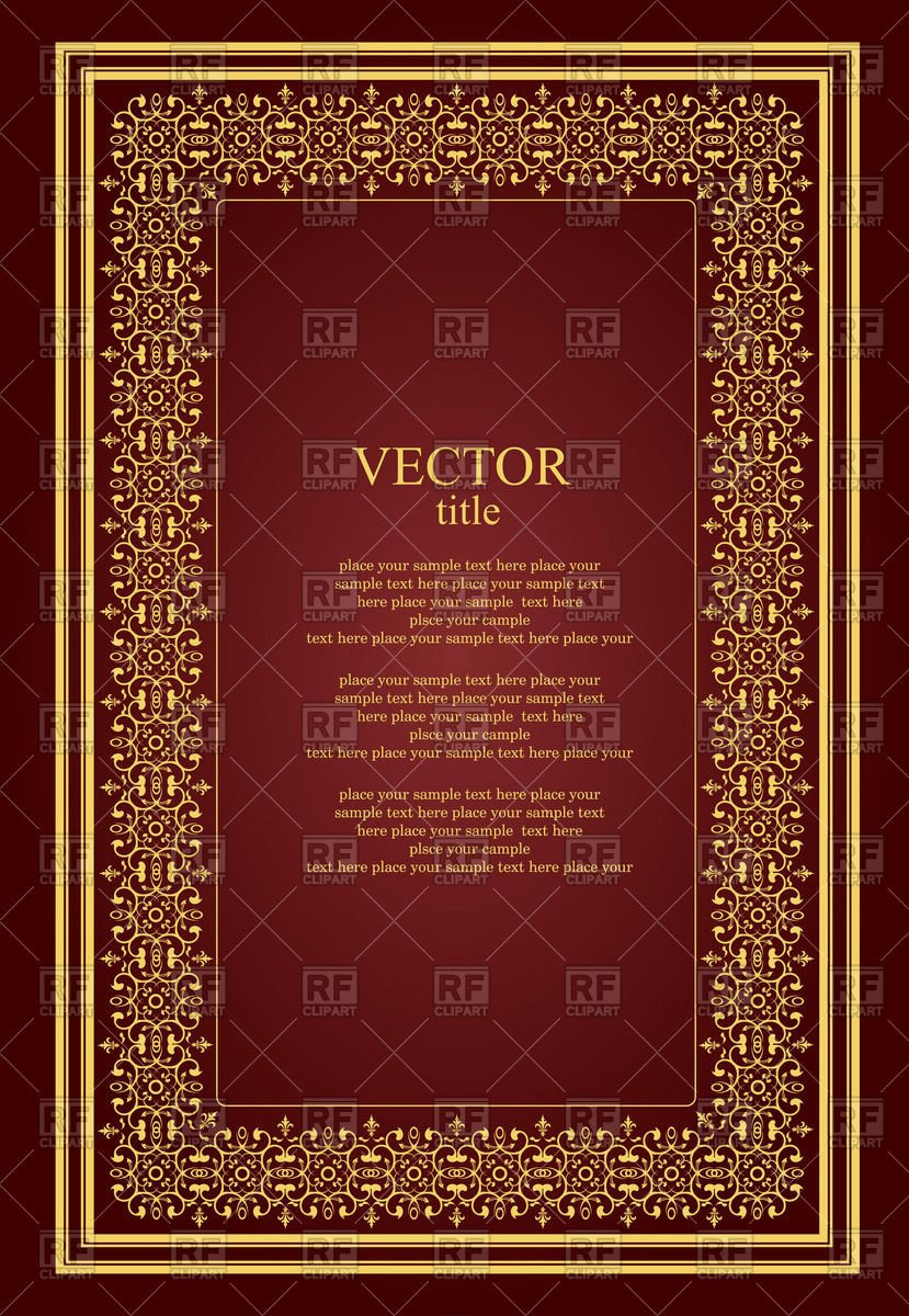 Old Book Cover Template Brochure or Book Cover Template with Golden Vintage