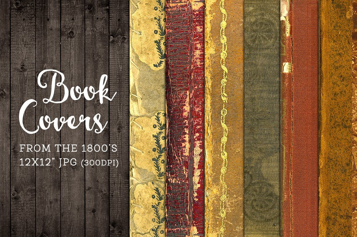Old Book Cover Template Old Worn Book Covers Digital Paper Graphics Creative