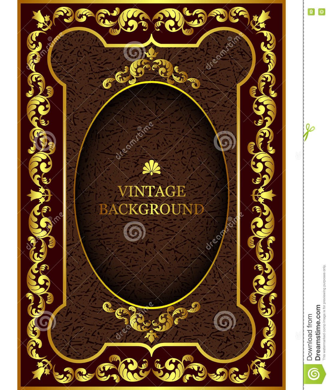 Old Book Cover Template Vector Luxury Vintage Border In the Baroque Style with