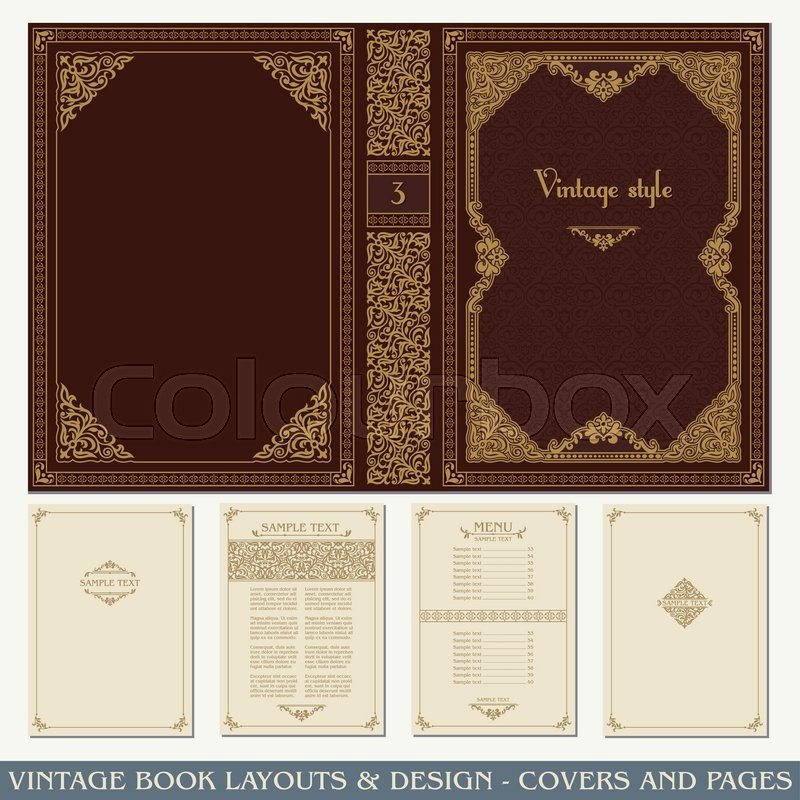 Old Book Cover Template Vintage Book Layouts and Design Covers and Pages