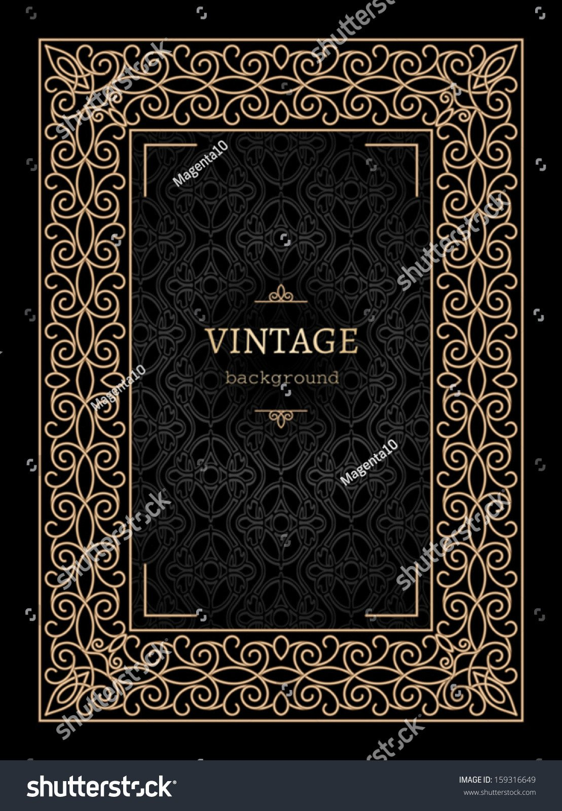 Old Book Cover Template Vintage Gold Background Book Cover Vector ornamental