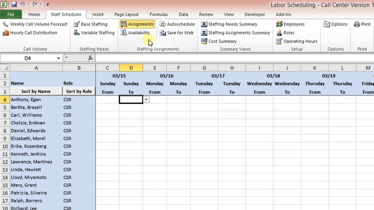 On Call Schedule Template Labor Scheduling Template for Excel Call Center Version