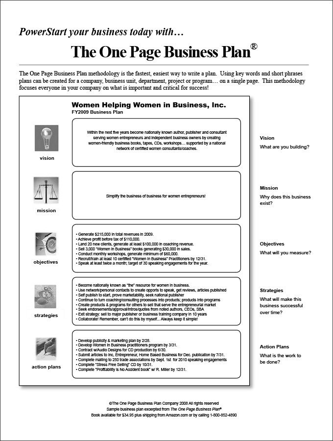One Page Proposal Template Business Plan Template Proposal Sample