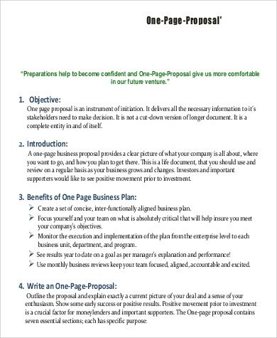 One Page Proposal Template Business Proposal Example 16 Samples In Word Pdf