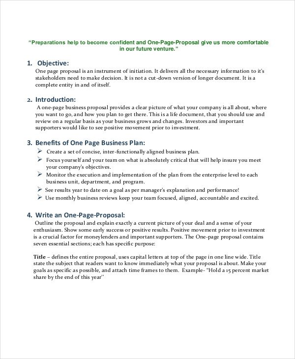 One Page Proposal Template Business Proposal Template 35 Free Word Pdf Psd