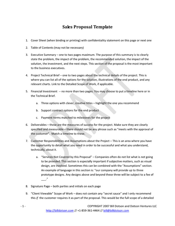 One Page Proposal Template Doc 6 Sales Proposal Templates – Proposal Template