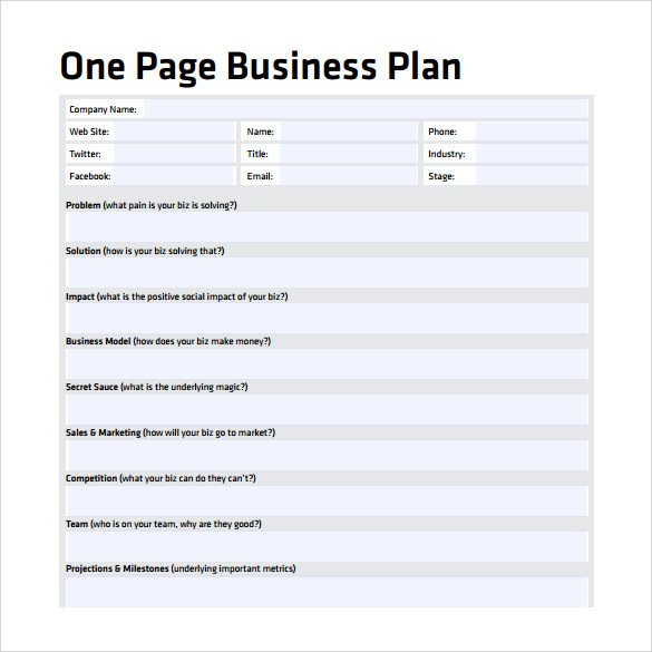 One Page Proposal Template Doc E Page Business Plan Template