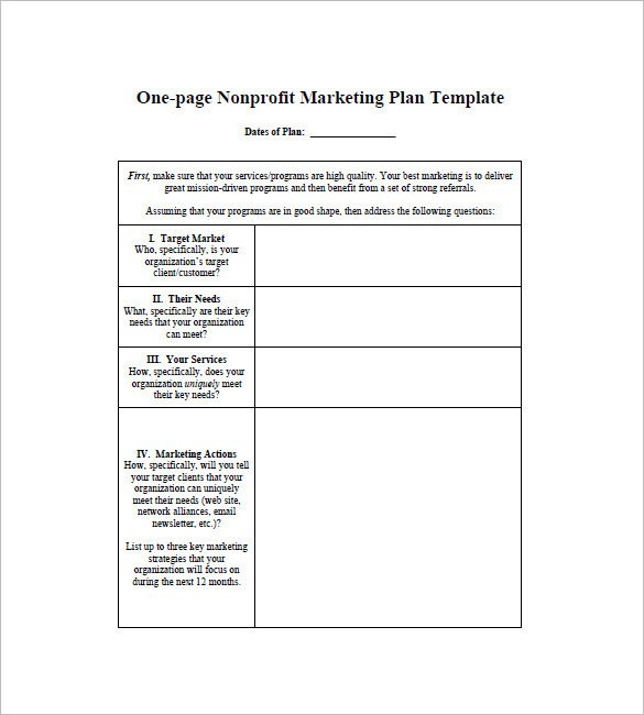 One Page Proposal Template Doc E Page Marketing Plan Template 16 Free Sample