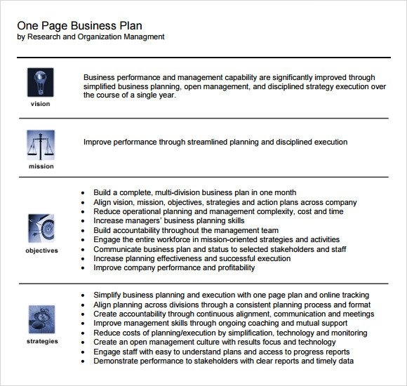 One Page Proposal Template E Page Business Plan Sample 10 Documents In Pdf Word