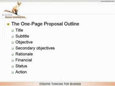 One Page Proposal Template E Page Proposal