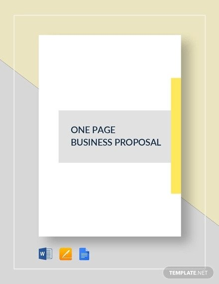 One Page Proposal Template How to Write A E Page Proposal Templates Pdf Word