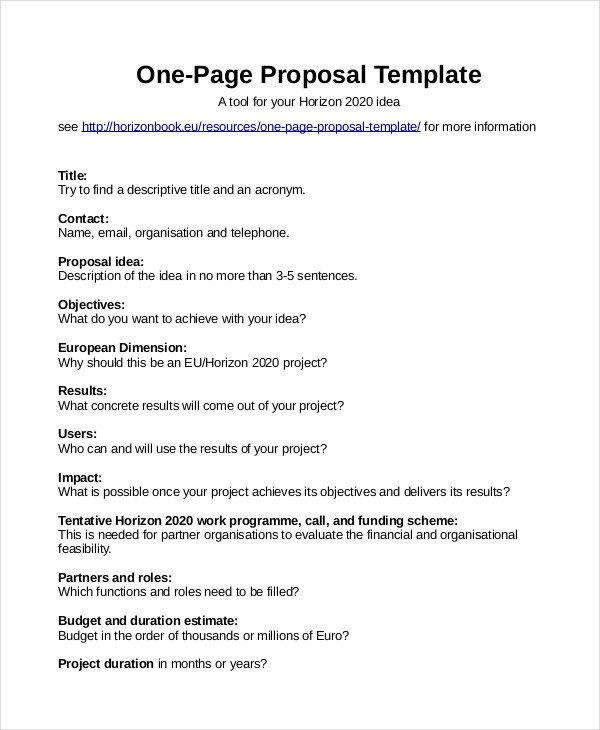 One Page Proposal Template Proposal Template 31 Free Word Pdf Indesign format