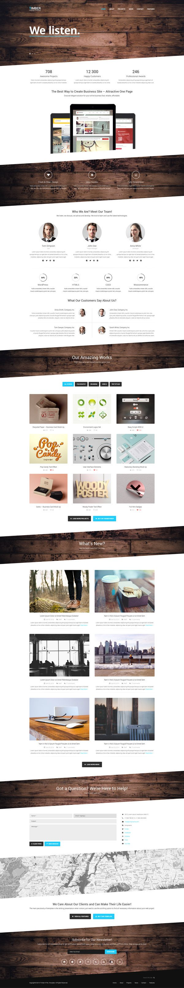Timber – Free e Page Bootstrap Template