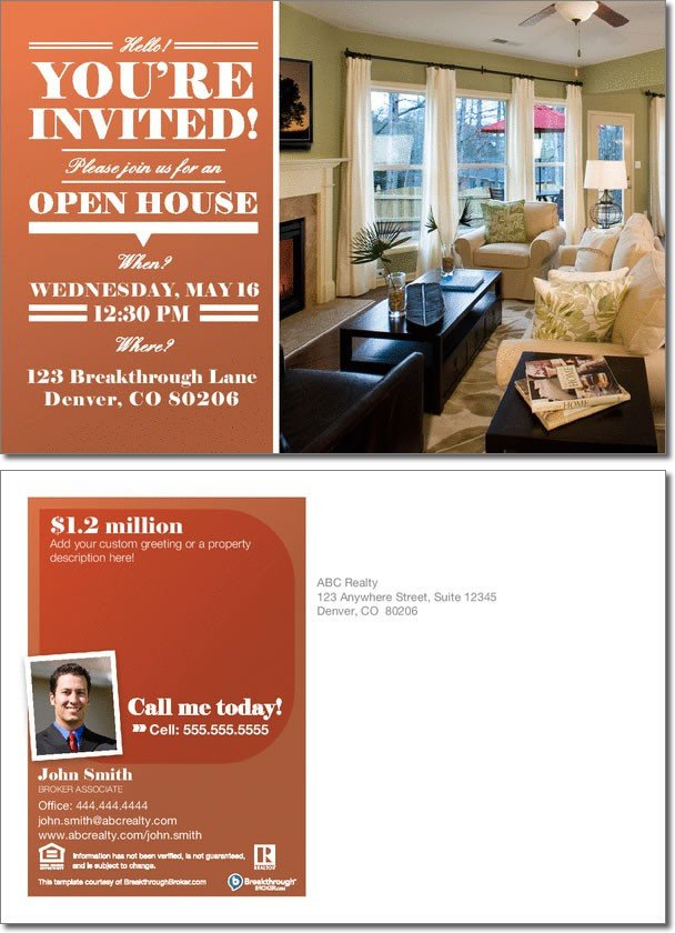 Open House Invitation Postcard