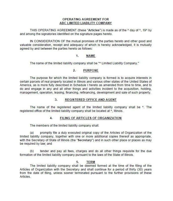 Operating Agreement Llc Template 30 Free Professional Llc Operating Agreement Templates