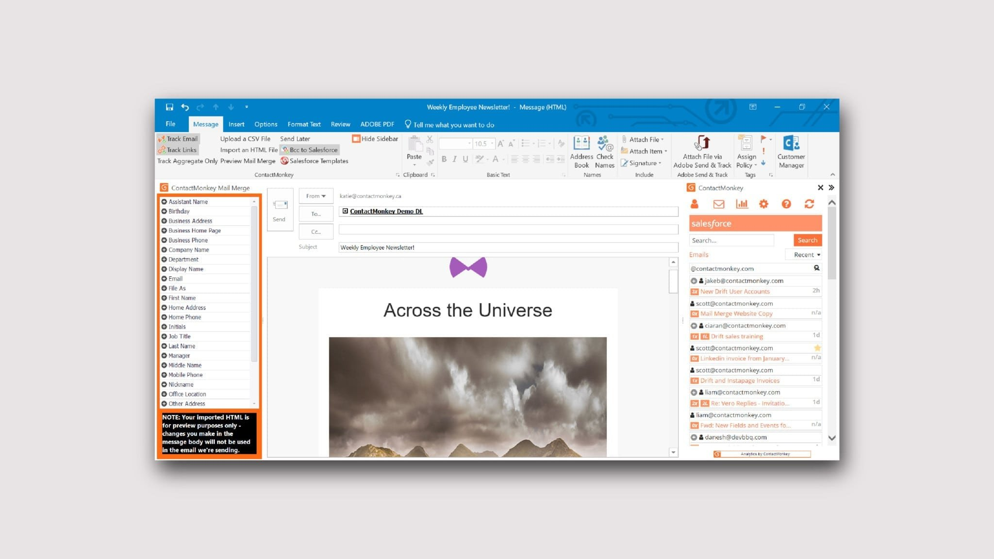 Outlook Email Newsletter Template Newsletter In Outlook Send Responsive HTML Employee