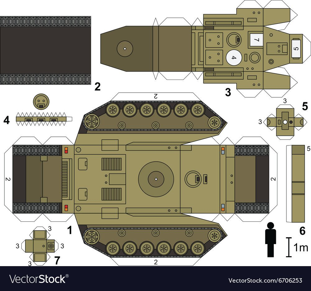 Papercraft Tank Template Paper Model Of A Tank Royalty Free Vector Image