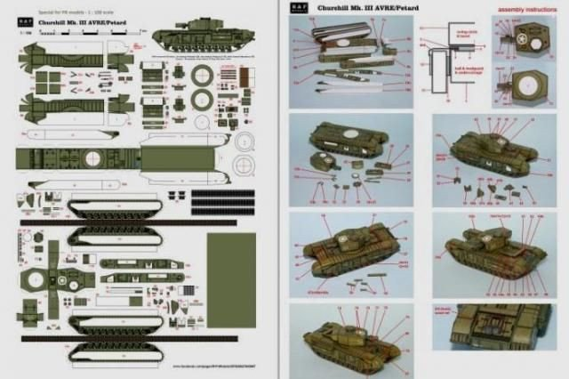 Papercraft Tank Template Papermau Ww2 S Tank Churchill Avre Paper Model In 1 100