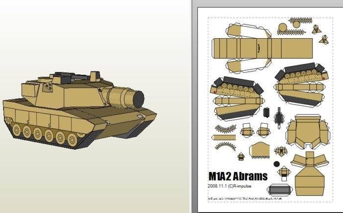 Papercraft Tank Template Sd M1a2 Abrams Tank Paper Craft My Paper Craft