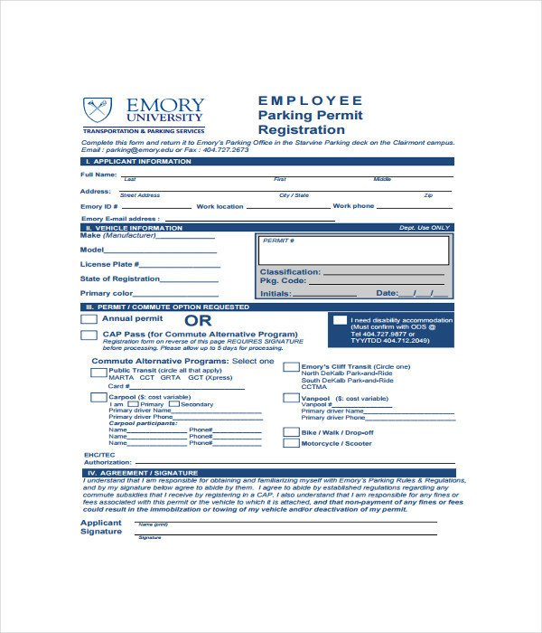 Parking Permit Template Word 11 Registration form Templates Free Word Pdf Documents