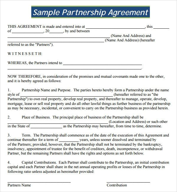 Sample Partnership Agreement 24 Free Documents Download